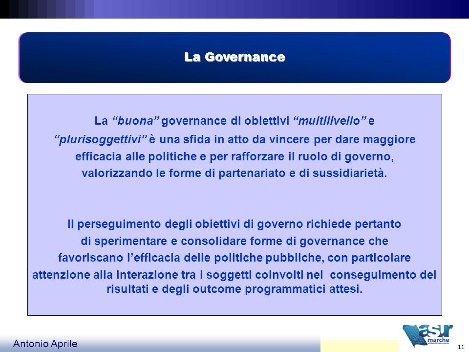 La Governance La buona governance di obiettivi multilivello e