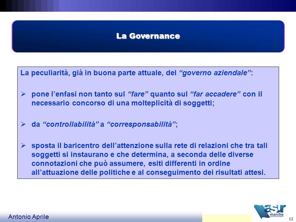 La GovernanceLa peculiarità, già in buona parte attuale, del governo aziendale :
