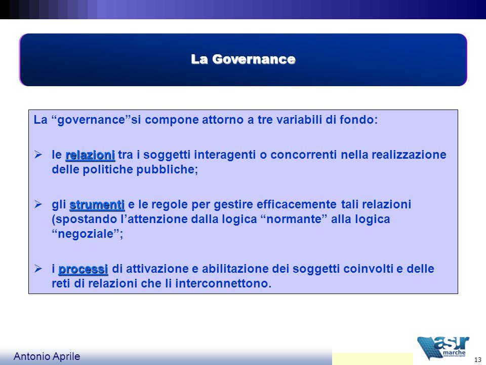La Governance La governance si compone attorno a tre variabili di fondo:
