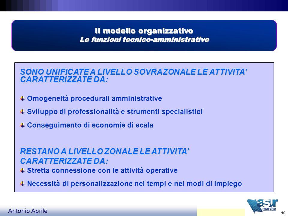 Il modello organizzativo Le funzioni tecnico-amministrative