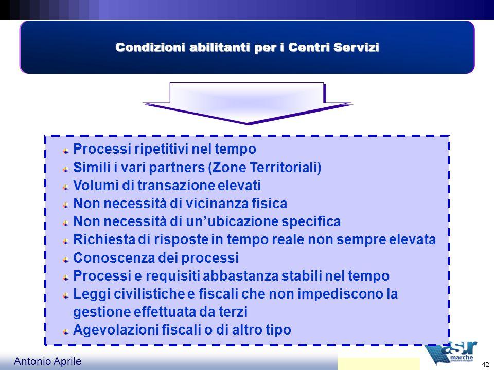 Condizioni abilitanti per i Centri Servizi