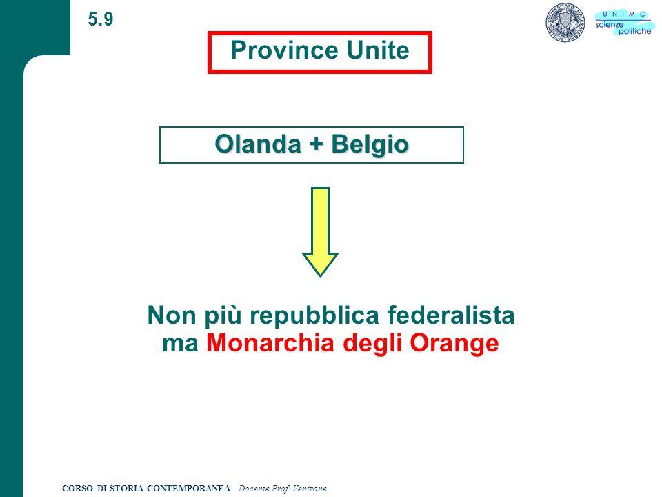 Non più repubblica federalista ma Monarchia degli Orange