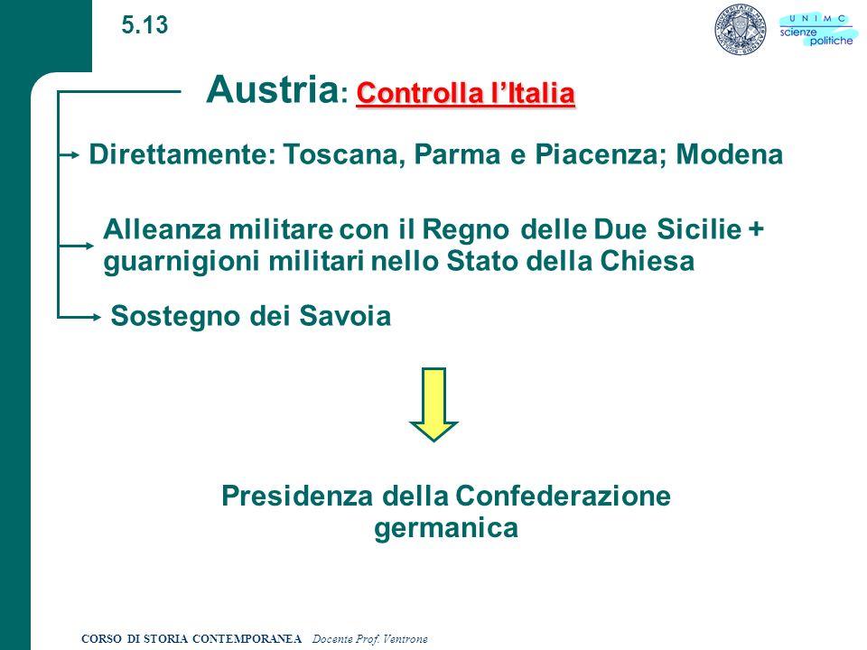 Austria: Controlla l'Italia Presidenza della Confederazione germanica