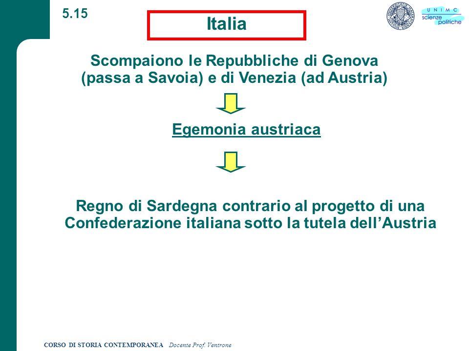 5.15 Italia. Scompaiono le Repubbliche di Genova (passa a Savoia) e di Venezia (ad Austria) Egemonia austriaca.
