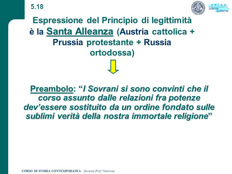 5.18 Espressione del Principio di legittimità è la Santa Alleanza (Austria cattolica + Prussia protestante + Russia ortodossa)