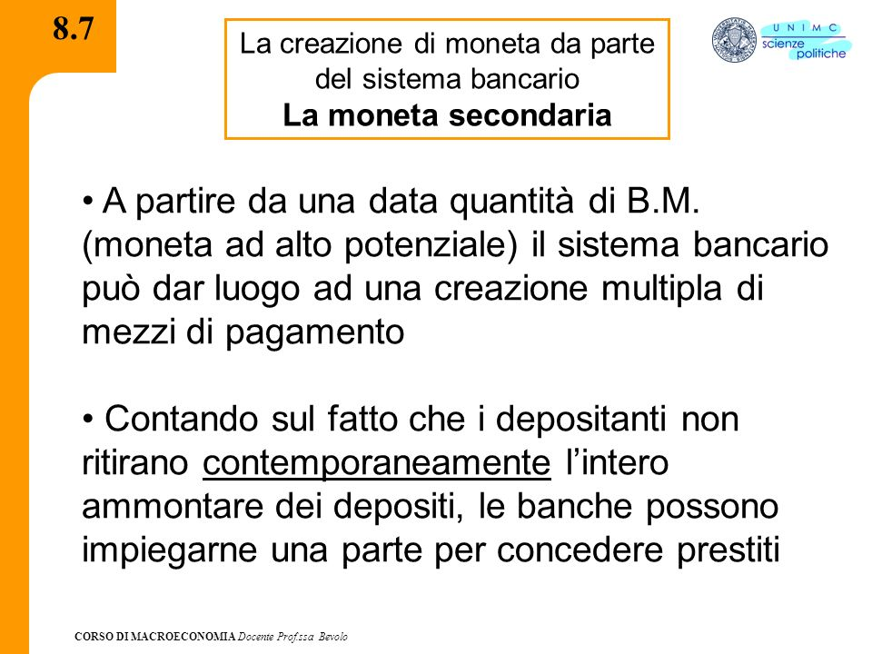 La creazione di moneta da parte del sistema bancario