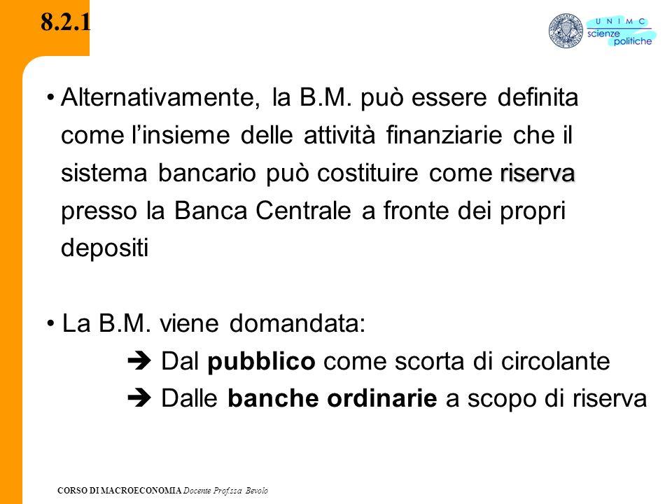 8.2.1 Alternativamente, la B.M. può essere definita. come l'insieme delle attività finanziarie che il.