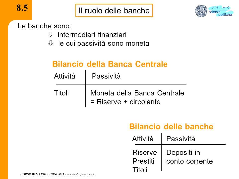 8.5 Bilancio della Banca Centrale Bilancio delle banche