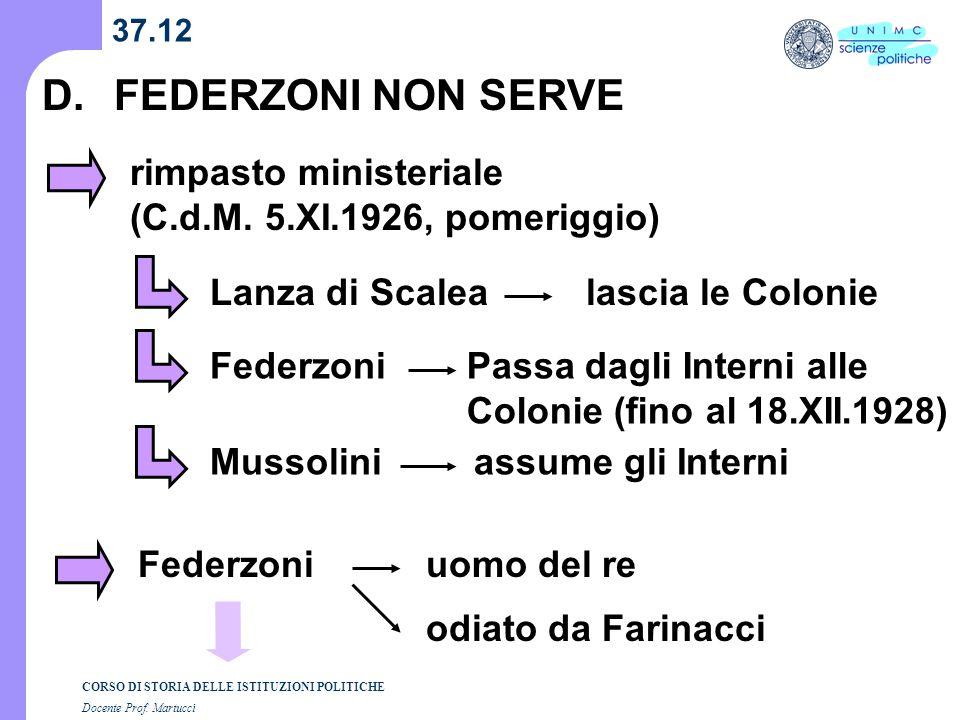 D. FEDERZONI NON SERVE rimpasto ministeriale