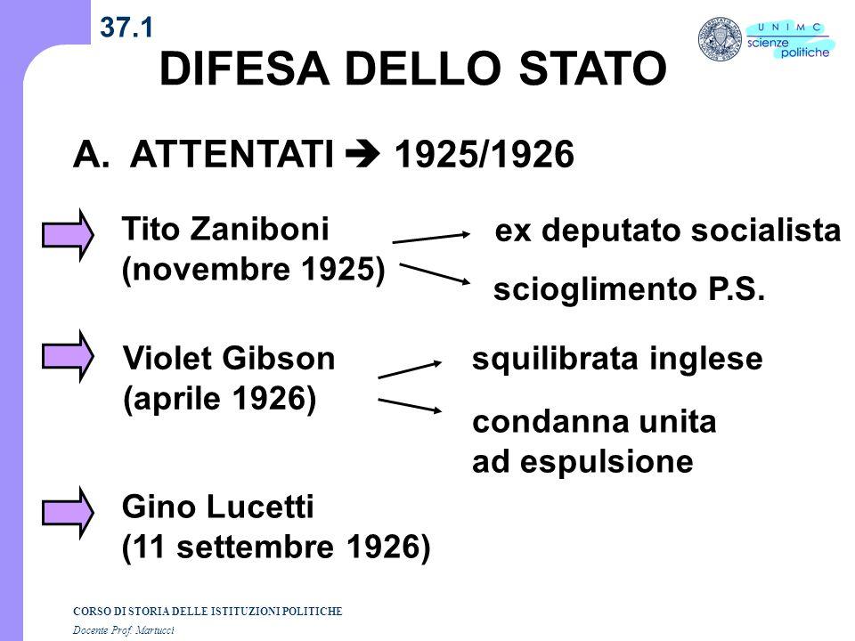 DIFESA DELLO STATO A. ATTENTATI  1925/1926 Tito Zaniboni