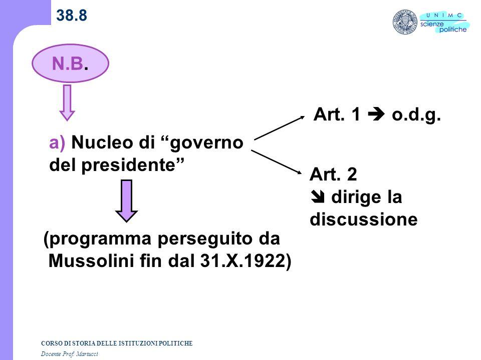 a) Nucleo di governo del presidente