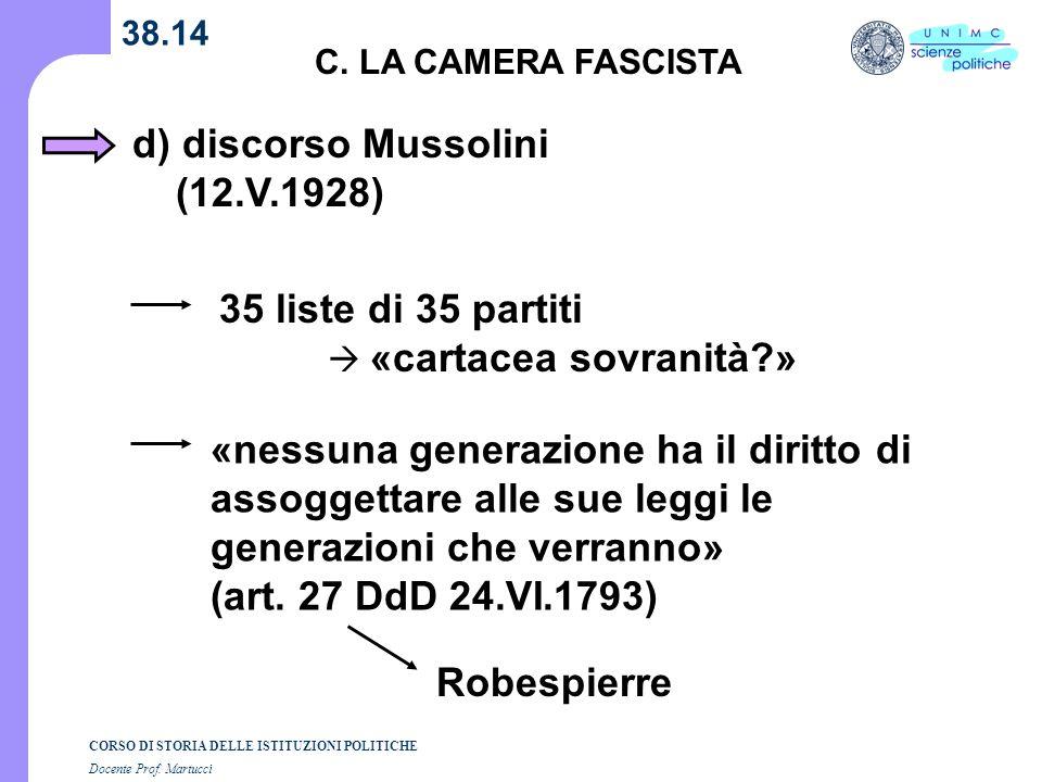 d) discorso Mussolini (12.V.1928)