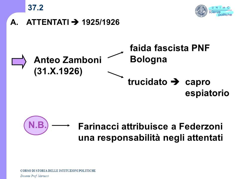Farinacci attribuisce a Federzoni una responsabilità negli attentati