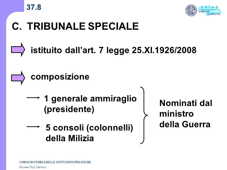 C. TRIBUNALE SPECIALE istituito dall'art. 7 legge 25.XI.1926/2008