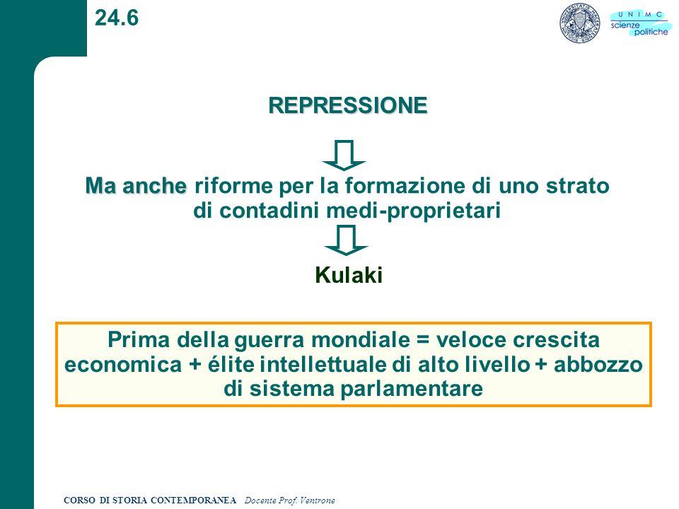24.6 REPRESSIONE. Ma anche riforme per la formazione di uno strato di contadini medi-proprietari.