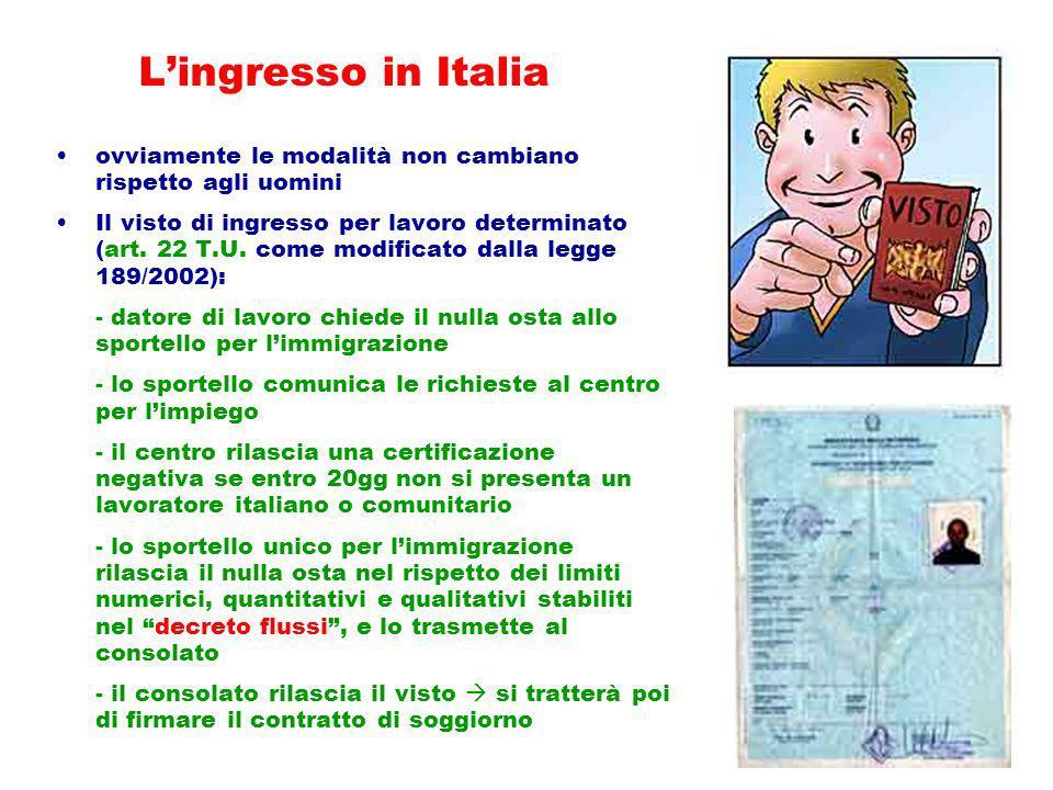 L'ingresso in Italia ovviamente le modalità non cambiano rispetto agli uomini.