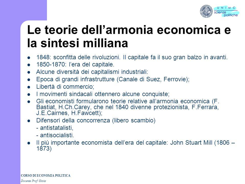 Le teorie dell'armonia economica e la sintesi milliana