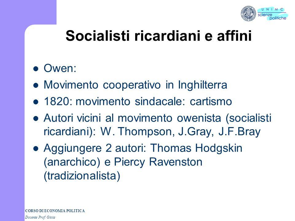 Socialisti ricardiani e affini