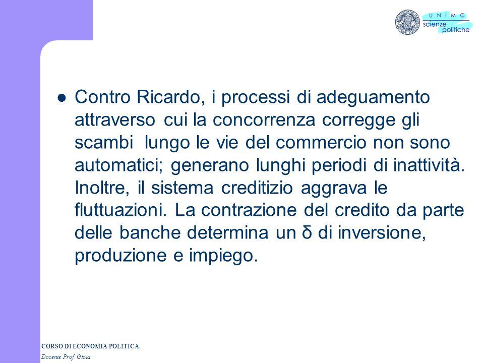 Contro Ricardo, i processi di adeguamento attraverso cui la concorrenza corregge gli scambi lungo le vie del commercio non sono automatici; generano lunghi periodi di inattività.