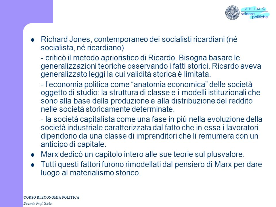 Richard Jones, contemporaneo dei socialisti ricardiani (né socialista, né ricardiano)