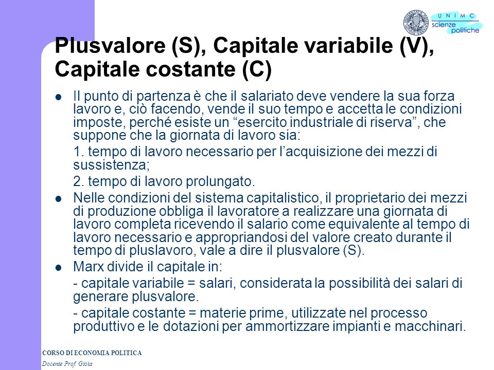 Plusvalore (S), Capitale variabile (V), Capitale costante (C)