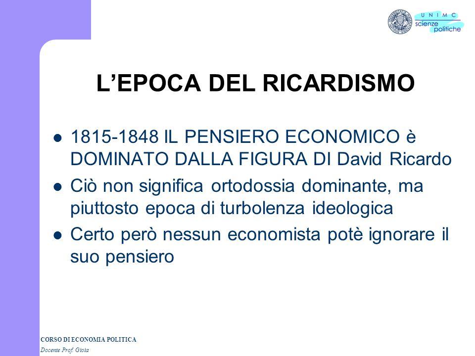 L'EPOCA DEL RICARDISMO