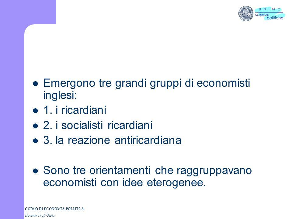 Emergono tre grandi gruppi di economisti inglesi: