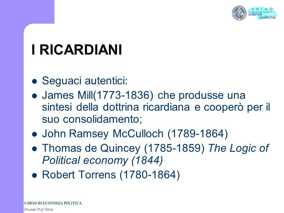 I RICARDIANI Seguaci autentici:
