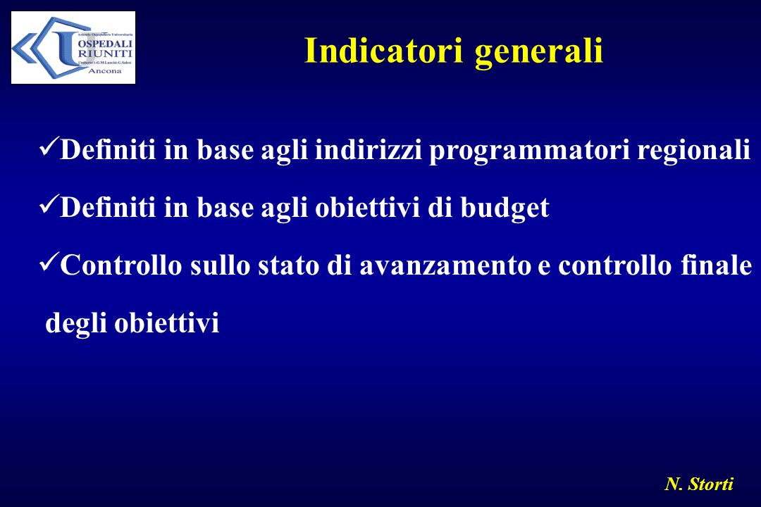 Indicatori generali Definiti in base agli indirizzi programmatori regionali. Definiti in base agli obiettivi di budget.