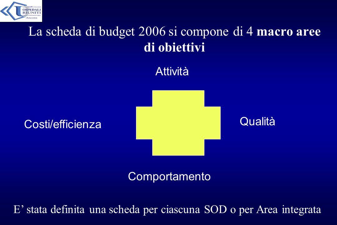 La scheda di budget 2006 si compone di 4 macro aree di obiettivi