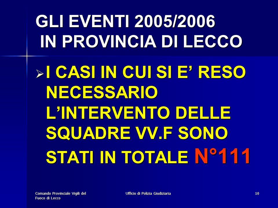 GLI EVENTI 2005/2006 IN PROVINCIA DI LECCO