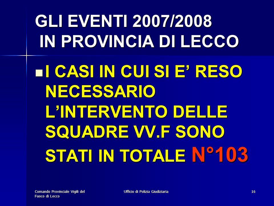 GLI EVENTI 2007/2008 IN PROVINCIA DI LECCO