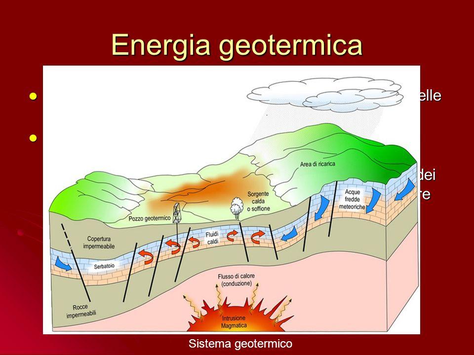 Energia geotermica Sfruttamento dell'acqua iuvenile calda e del vapore nelle aree di attività vulcanica e tettonica;