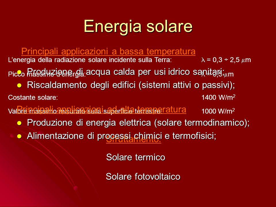 Energia solare Principali applicazioni a bassa temperatura