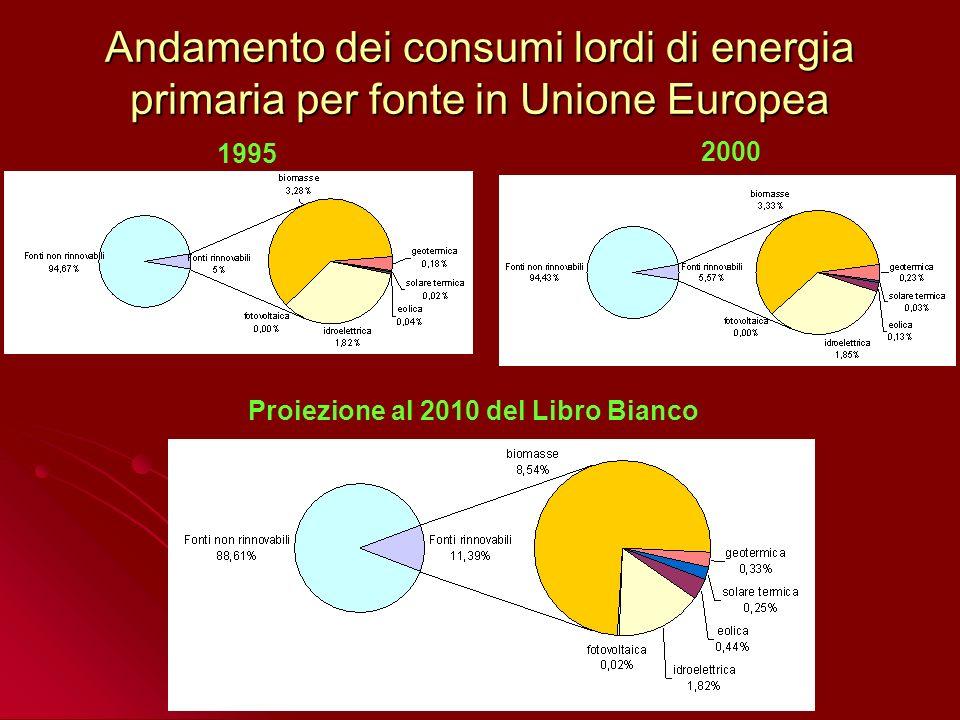 Andamento dei consumi lordi di energia primaria per fonte in Unione Europea