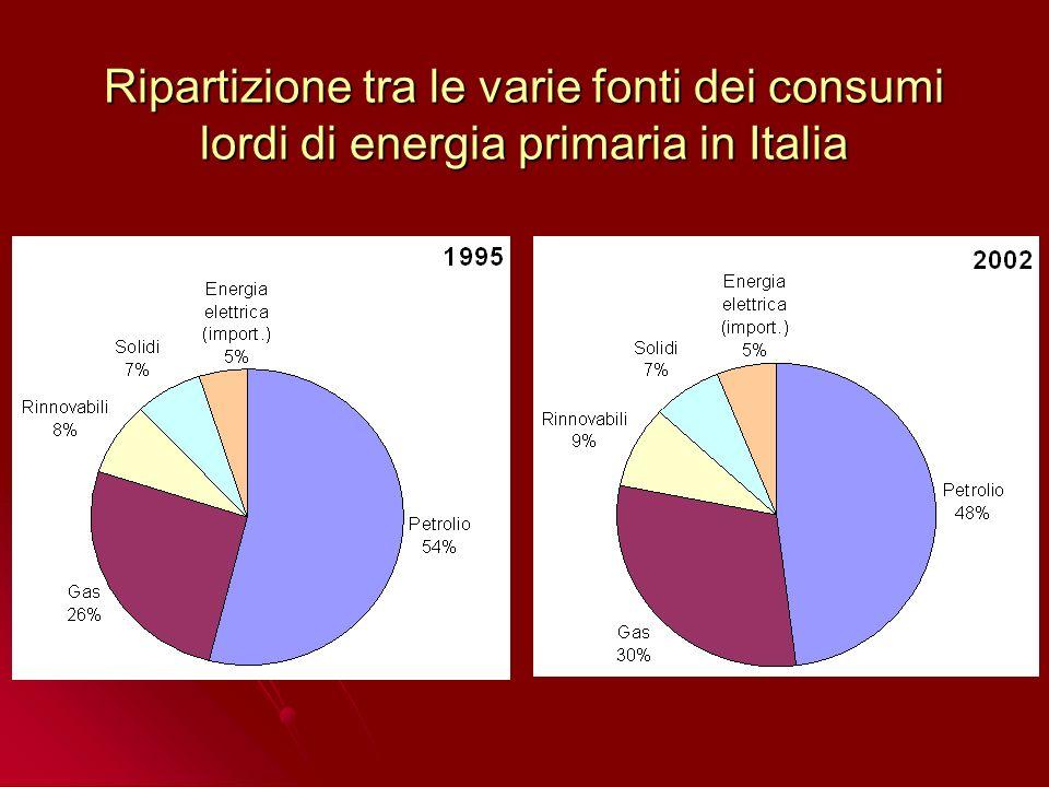 Ripartizione tra le varie fonti dei consumi lordi di energia primaria in Italia