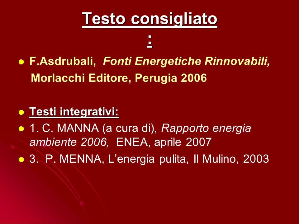 Testo consigliato : F.Asdrubali, Fonti Energetiche Rinnovabili,