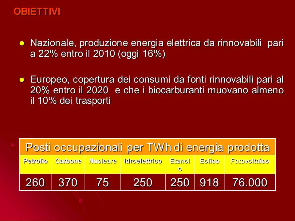 Posti occupazionali per TWh di energia prodotta