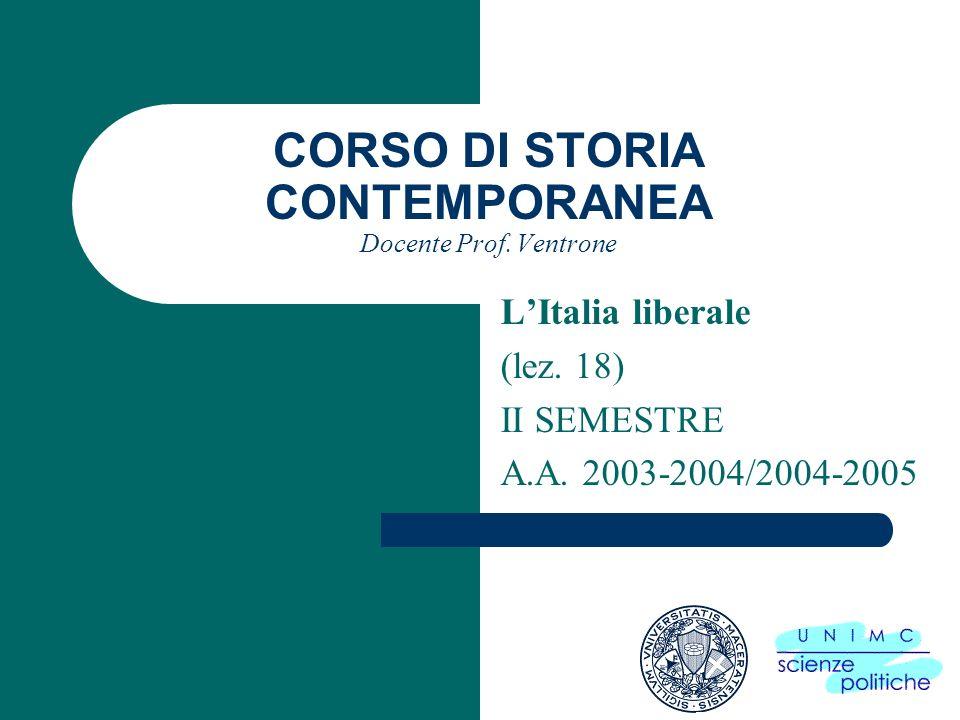 CORSO DI STORIA CONTEMPORANEA Docente Prof. Ventrone