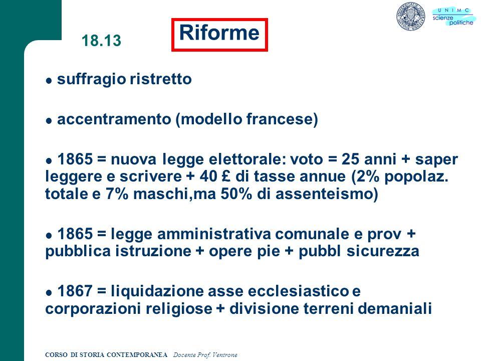 Riforme 18.13 suffragio ristretto accentramento (modello francese)