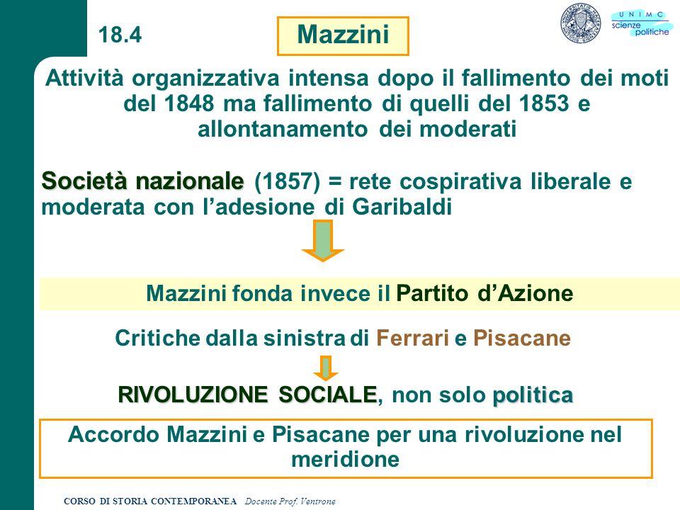 18.4 Mazzini. Attività organizzativa intensa dopo il fallimento dei moti del 1848 ma fallimento di quelli del 1853 e allontanamento dei moderati.