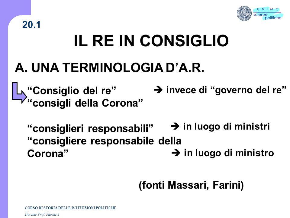 IL RE IN CONSIGLIO A. UNA TERMINOLOGIA D'A.R.
