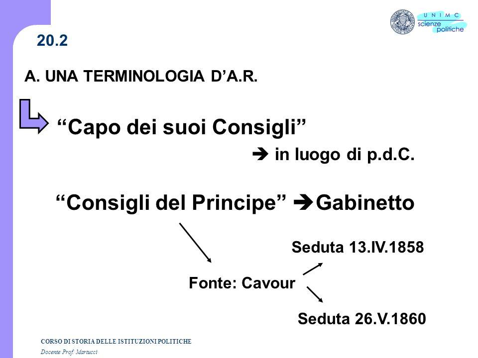 A. UNA TERMINOLOGIA D'A.R. Consigli del Principe Gabinetto