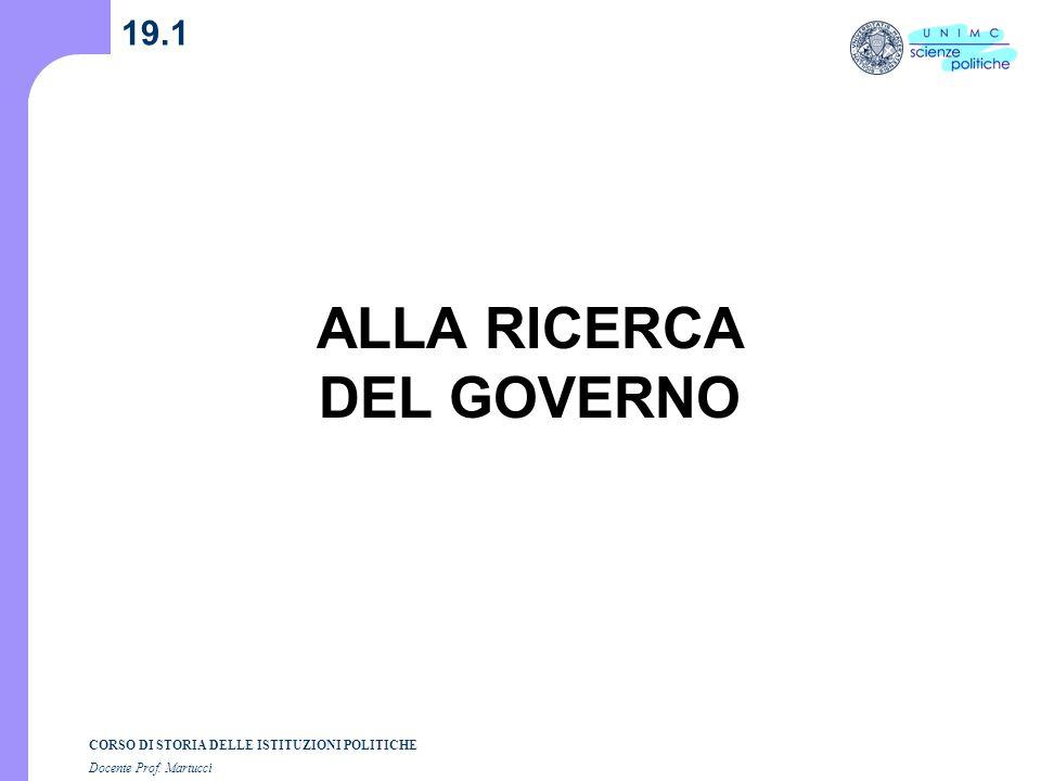 ALLA RICERCA DEL GOVERNO
