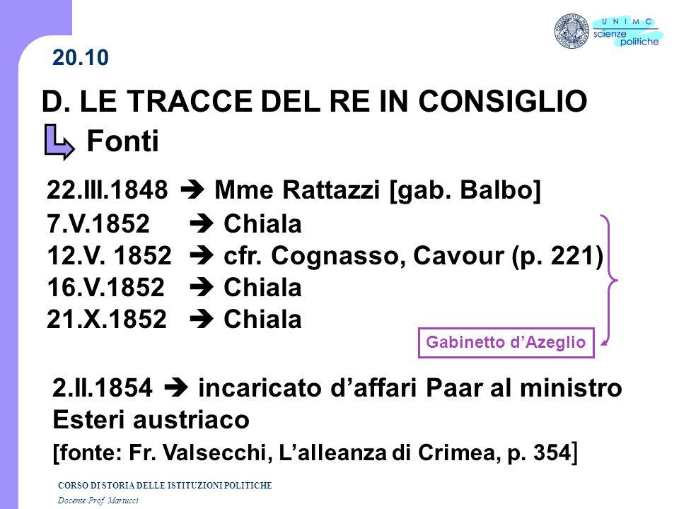 D. LE TRACCE DEL RE IN CONSIGLIO