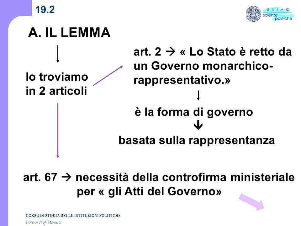 19.2 A. IL LEMMA. art. 2  « Lo Stato è retto da un Governo monarchico-rappresentativo.» lo troviamo.