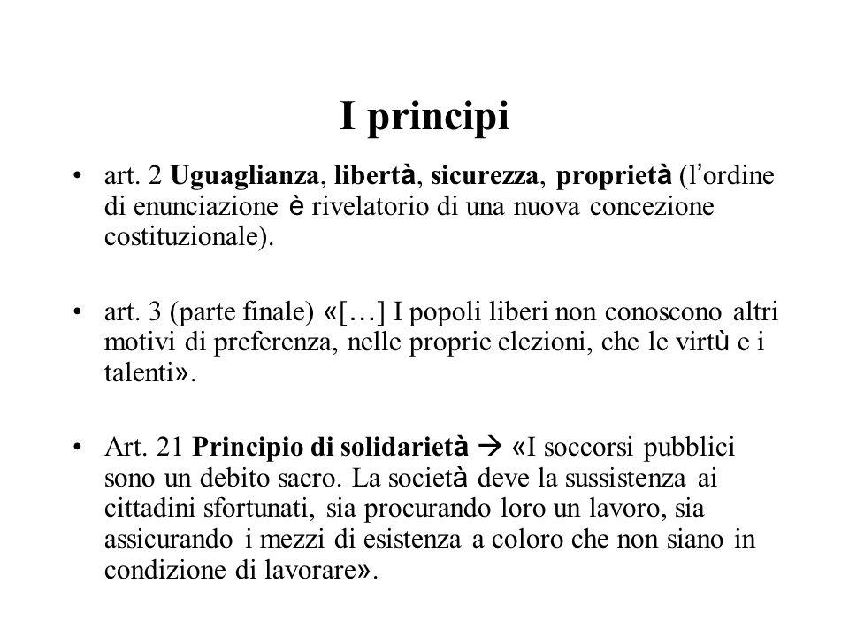I principi art. 2 Uguaglianza, libertà, sicurezza, proprietà (l'ordine di enunciazione è rivelatorio di una nuova concezione costituzionale).