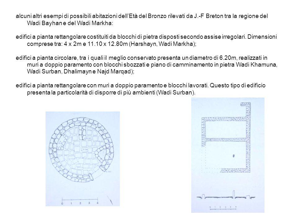 alcuni altri esempi di possibili abitazioni dell'Età del Bronzo rilevati da J.-F Breton tra la regione del Wadi Bayhan e del Wadi Markha: