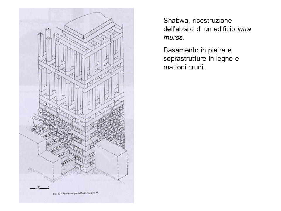 Shabwa, ricostruzione dell'alzato di un edificio intra muros.