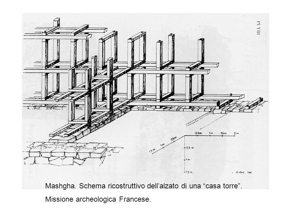 Mashgha. Schema ricostruttivo dell'alzato di una casa torre .